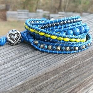 Blue Leather Wrap Beaded Bracelet